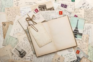 nostalgic vintage scrapbook and letters from travel